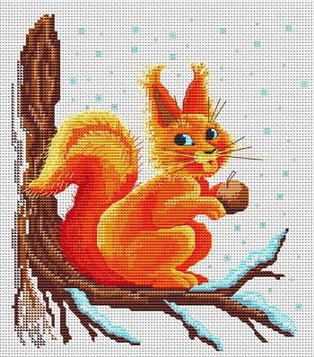 Животные.  Просмотров: 179 Дата.  Вышивка крестиком - Белочка с орешком.